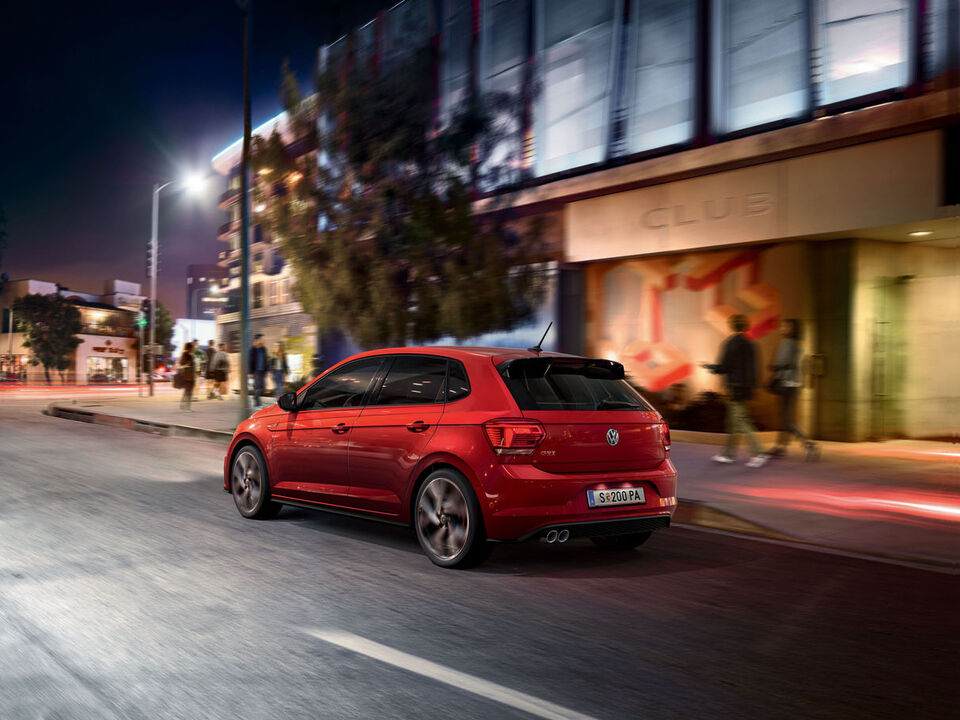 vw volkswagen polo gti roşu spate lateral