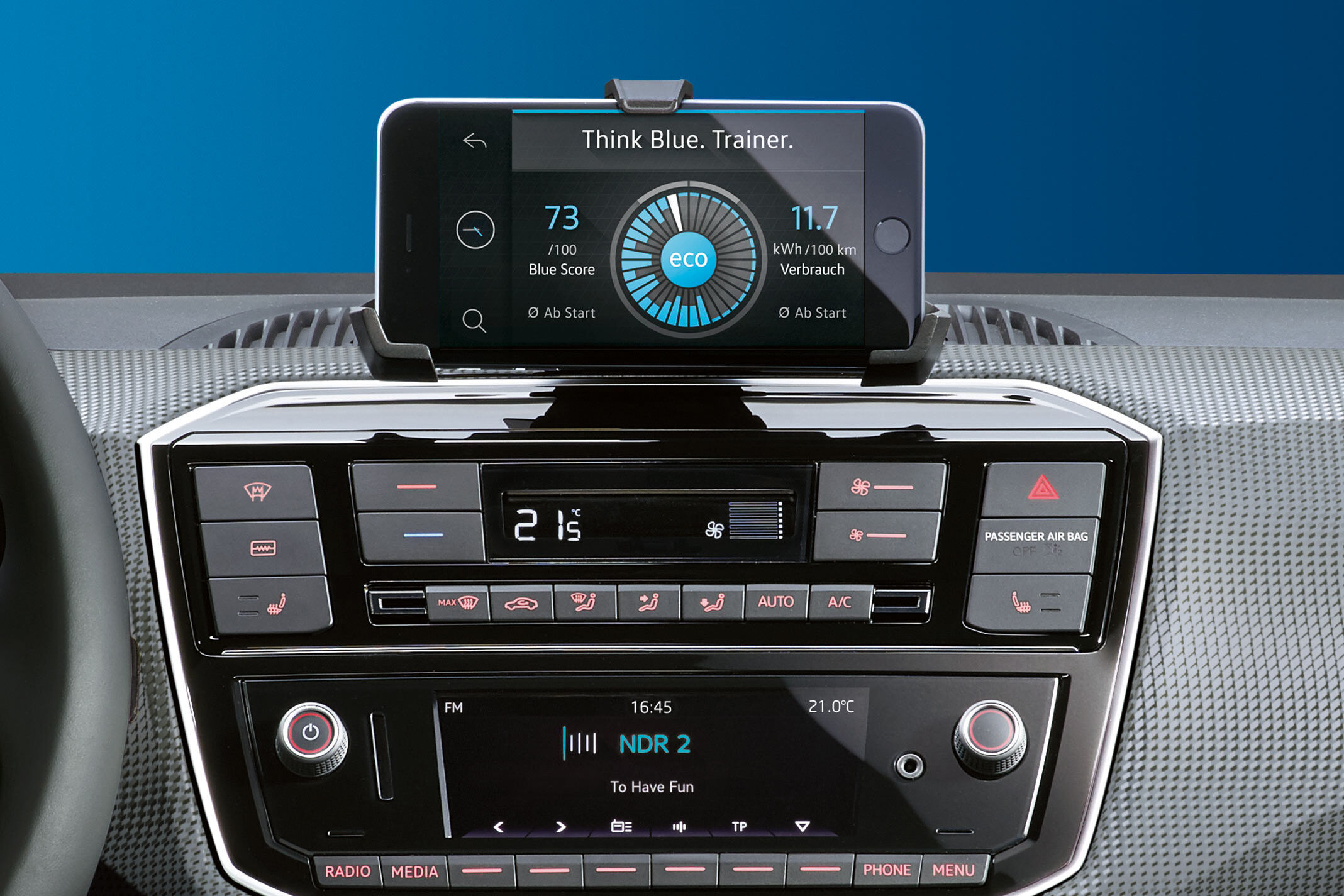 vw e-up interior display radio